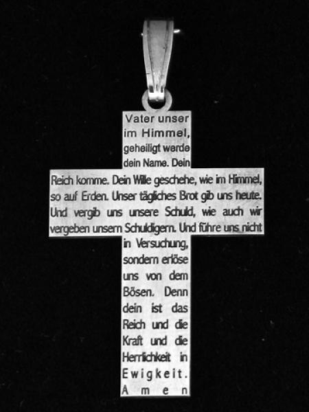 925 Silber Kreuzanh 228 Nger Mit Quot Vaterunser Quot